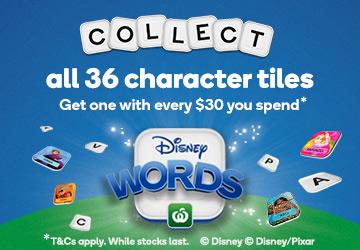 FREE Postage 4 Woolworths Disney Words Tiles Disney Words Ooshies A-Z